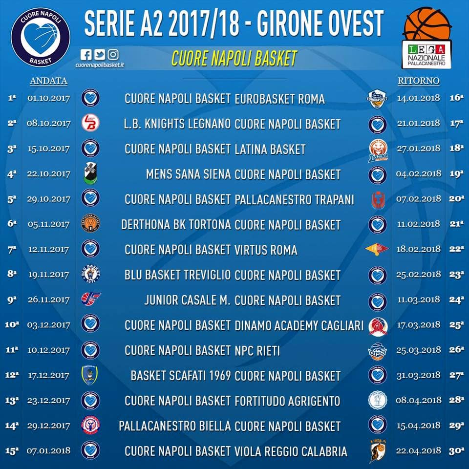 Calendario Serie A 2 Basket.Calendario Cuore Napoli Basket 2017 2018