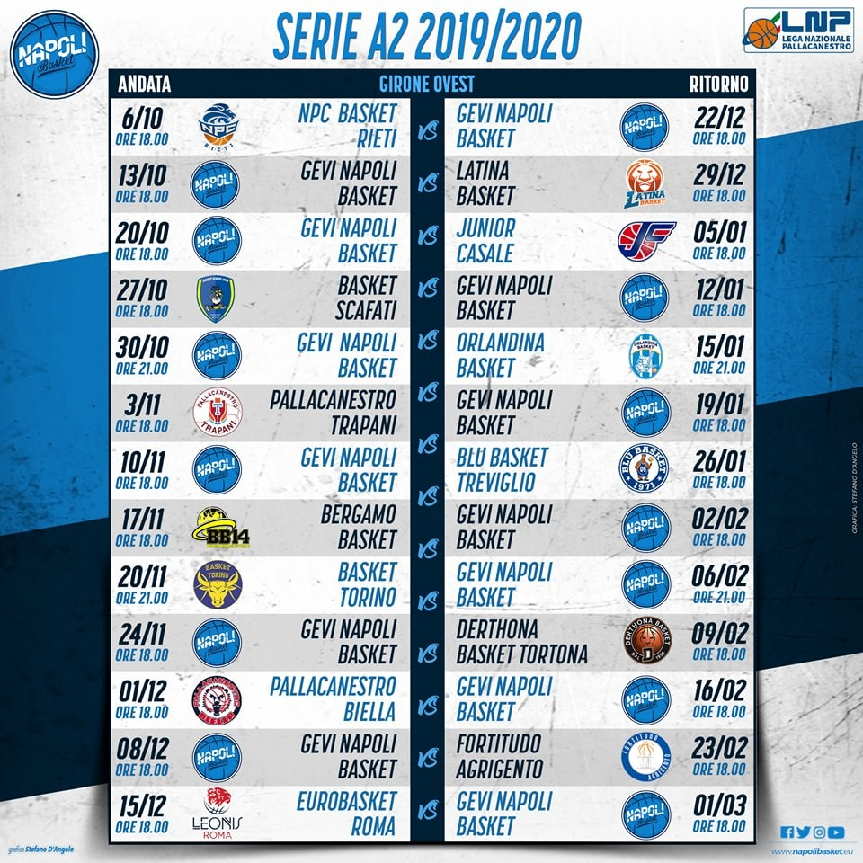 Calendario Serie A 2020 11.Calendario Napoli Basket 2019 2020