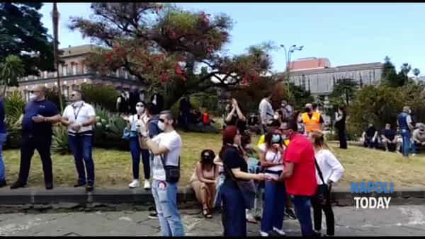 Lavoratori stagionali dell'Aeroporto di Capodichino in protesta