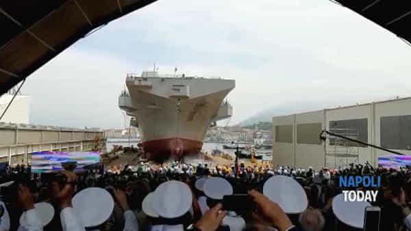 Emozione per il varo della nave Trieste a Castellammare, presente anche il Presidente Mattarella