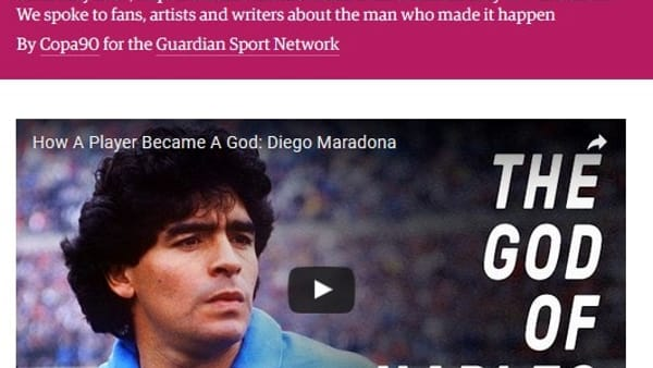"The Guardian: ""Maradona è immortale per Napoli"""