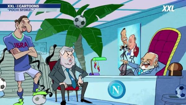 Ibra-Napoli, ecco il cartone animato con Adl, Ancelotti e lo svedese | VIDEO
