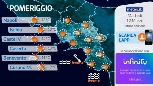 Meteo, le previsioni su Napoli e Campania per martedì 12 marzo