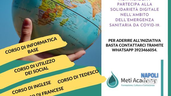 Solidarietà digitale, corsi gratuiti on line con Meti Academy