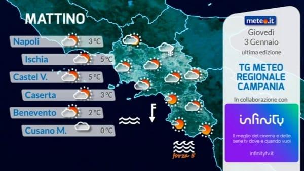 Meteo, le previsioni su Napoli e Campania per giovedì 3 gennaio