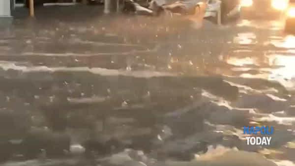Bomba d'acqua, allagamenti sulla Riviera di Chiaia|VIDEO