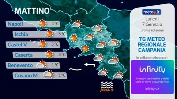Meteo, le previsioni su Napoli e Campania per lunedì 7 gennaio